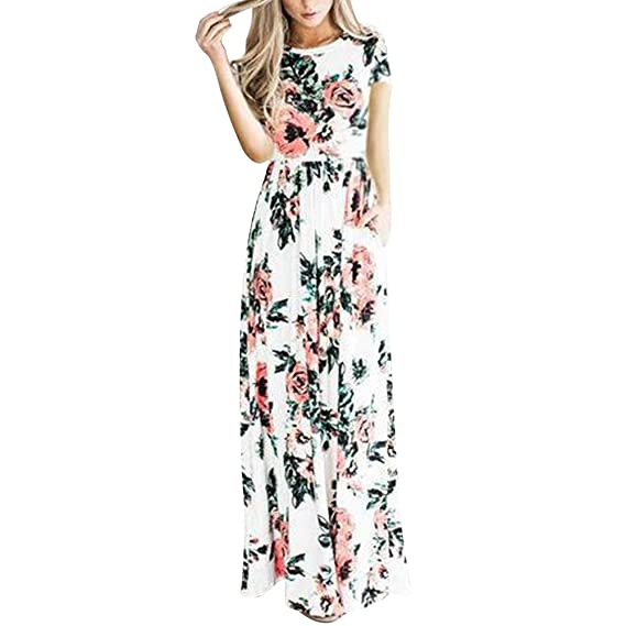 552e8412fce0f1 FeelinGirl Robe Jupe Femme Robe ete Taille Haute Poche Longue Imprime Chic  Elégant Charmant S-XXL