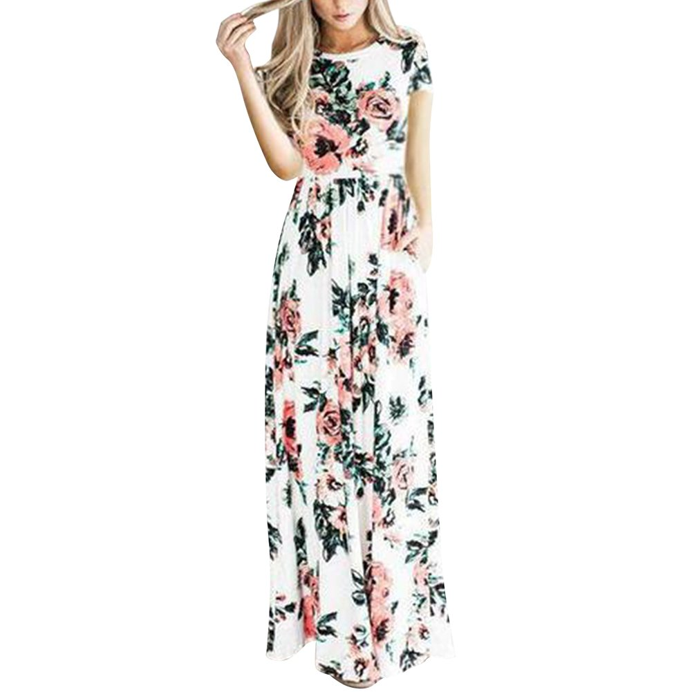 6079386e7a07 Galleon - HOOYON Women's Casual Floral Printed Long Maxi Dress With Pockets( S-5XL),White Short,3X