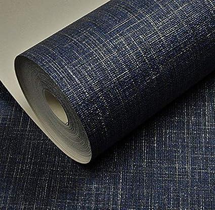 Yuela Viny Embossed Linen Metallic Plain Textured Wallpaper