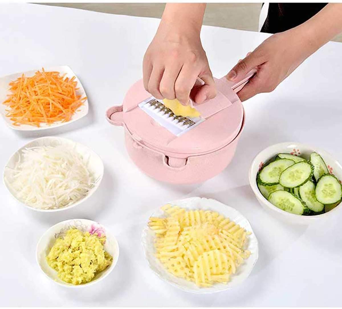 OPYWQS Vegetable Mandoline Slicer 10 in 1 Cutter Slicer Shredder Chopper Grater,4 Different Blades,Egg Separator & Drain Basket,for Kitchen