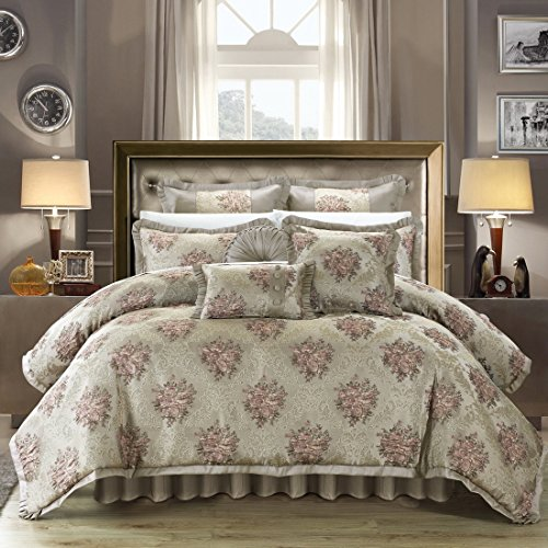 Chic Home 9 Piece Le Mans Decorator Upholstery Quality Jacquard Motif Fabric Bedroom Comforter Set & Pillows Ensemble, Queen, Beige - bedroomdesign.us