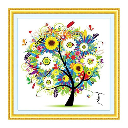 Cross Stitch DIY Handmade Needlework Set Dream Tree Cross-Stitch Scenery Patterns Embroidery, Scenery, Four Seasons Rich Tree, Home Decoration ( 49 x 49 cm ) (Summer)