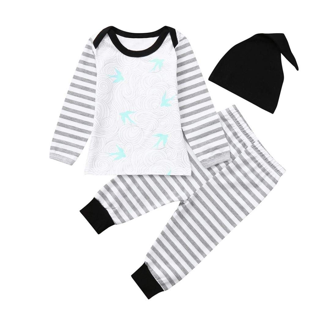 Baby Autumn Striped Sets,Jchen(TM) Toddler Infant Baby Boys Girls Animal Print Tops Striped Pants Hat Outfits 0-18 Months (Age: 3-6 Months)