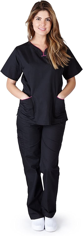 Medical Nurse Women Natural Uniforms Contrast Scallop Scrubs Sets Size XS XL