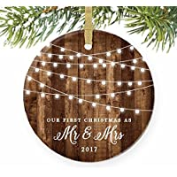 """First Christmas as Mr & Mrs Ornament 2017, Rustic 1st Married Christmas Ornament, First Married, 3"""" Flat Circle Porcelain Ceramic Ornament w Glossy Glaze, Gold Ribbon & Free Gift Box   OR00300 Delfino"""