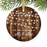 "First Christmas as Mr & Mrs Ornament 2017, Rustic 1st Married Christmas Ornament, First Married, 3"" Flat Circle Porcelain Ceramic Ornament w Glossy Glaze, Gold Ribbon & Free Gift Box 