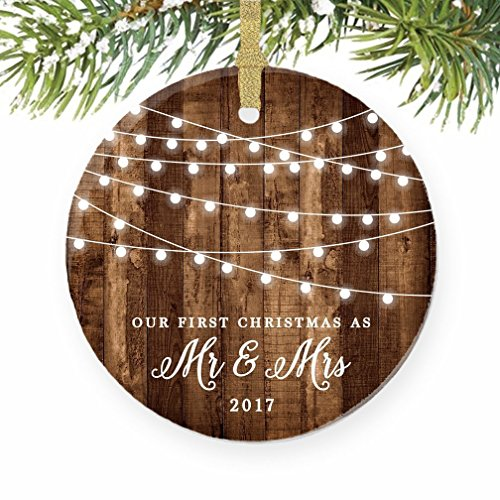 First Christmas Wedding Ornament (First Christmas as Mr & Mrs Ornament 2017, Rustic 1st Married Christmas Ornament, First Married, 3