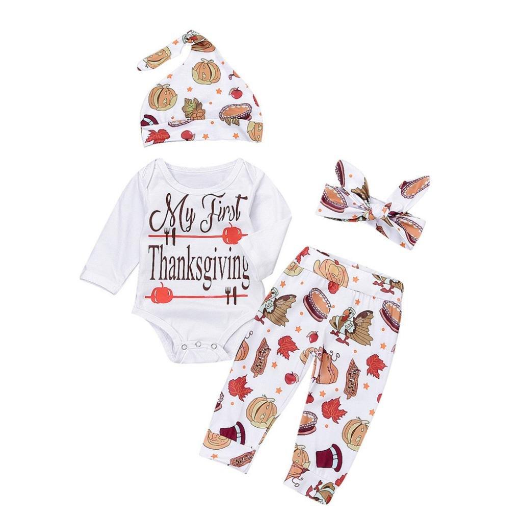 Hirolan Baby Winteranzug Walkoverall Herbst Neugeboren Säugling 4 Stück das Erntedankfest Outfits Set Mädchen Briefe O-Ausschnitt Spielanzug Lange Ärmel Tops Baumwolle Hose