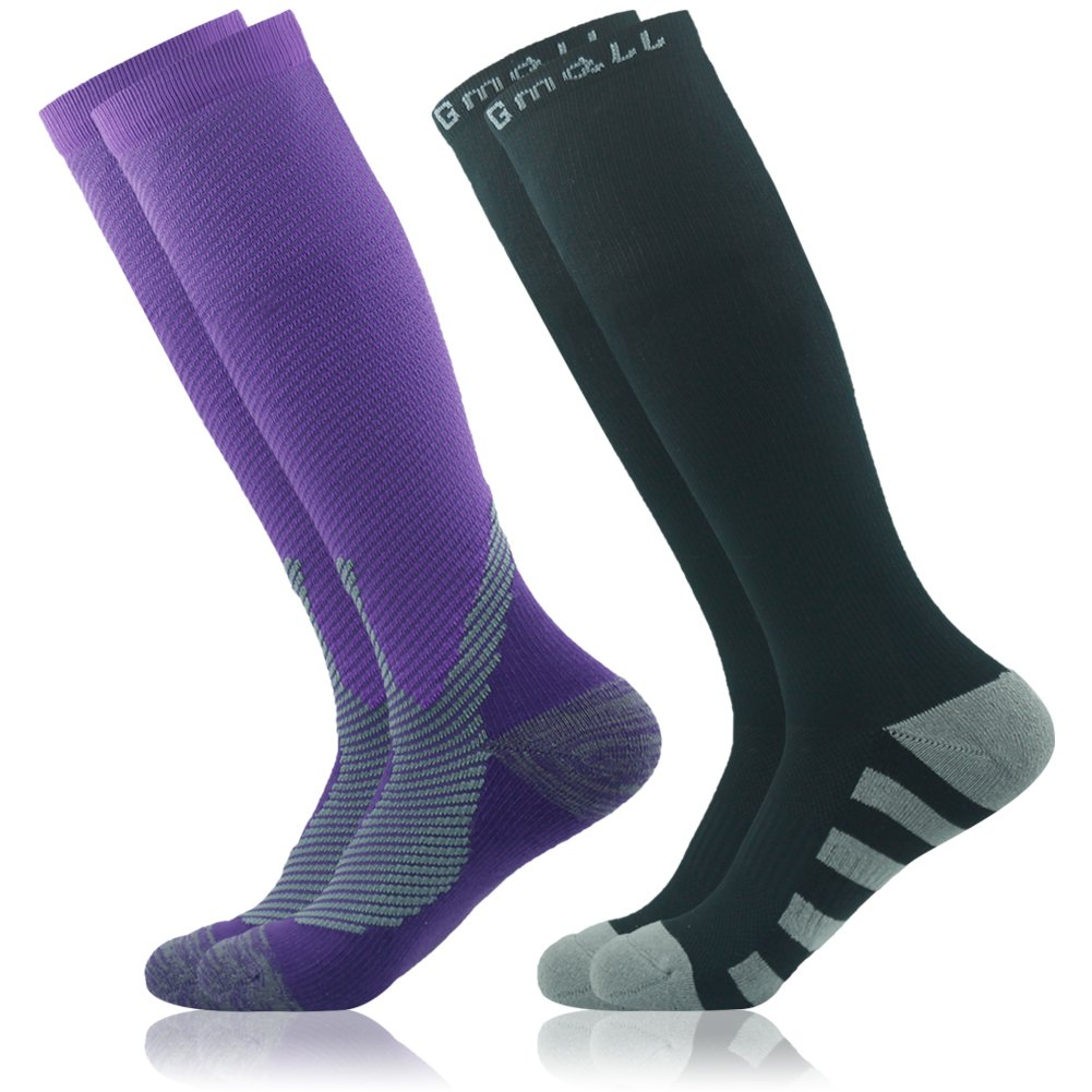 15-20mmHg Gmall Outdoor Sports Running Football Moderate Performance Socks for Men and Women Graduated Compression Socks