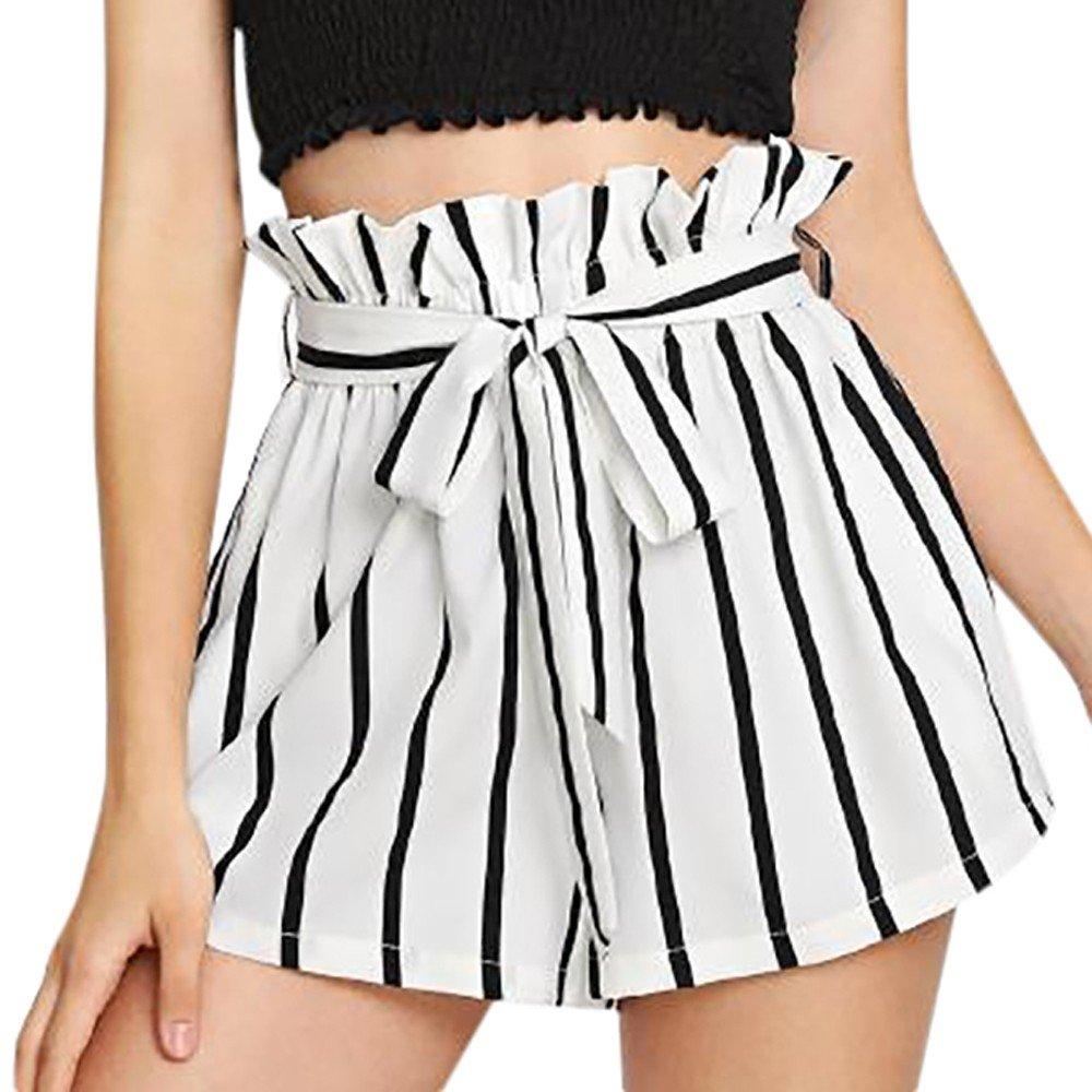 Women's High Waist Shorts,Ladies Summer Casual Wide Leg Loose Elastic Waist Ruffle Stripe Retro Shorts