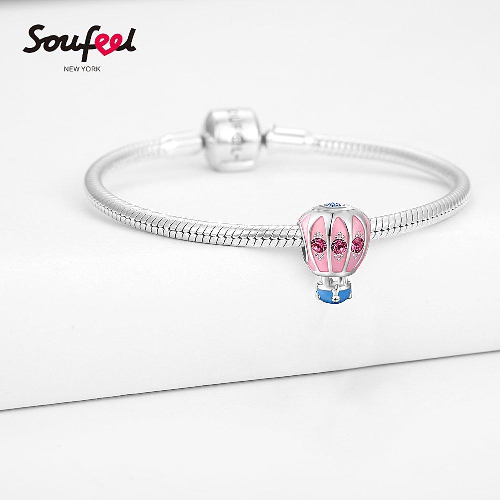 Soufeel Ballon /À Air Chaud Charm en Argent Sterling 925 Compatible Europ/éen Bracelet Charms Colliers pour Femme Saint-Valentin Cadeau