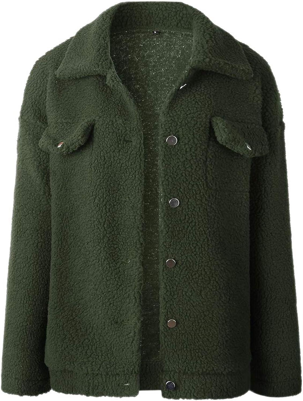 Suvimuga Womens Sweatshirt Faux Fur Winter Coat Button Down Lapel Jacket Outwear