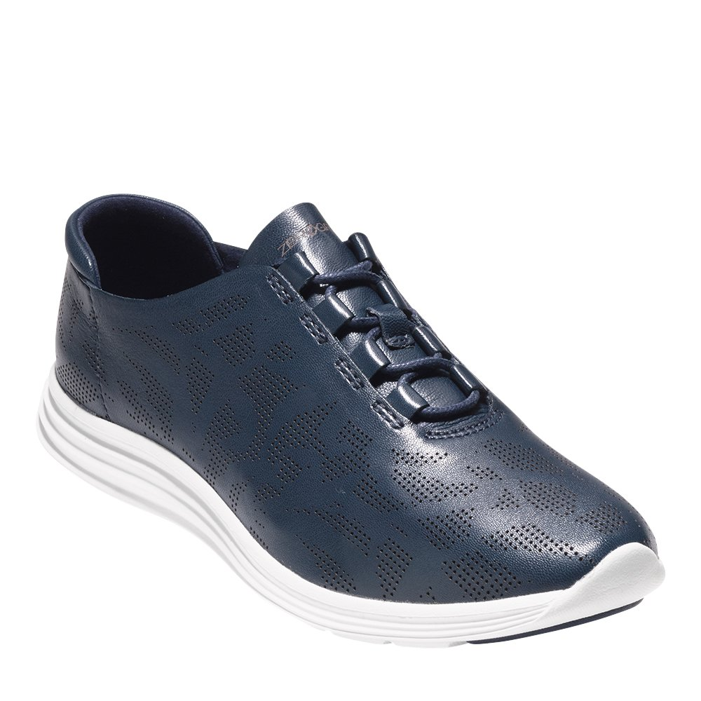 Cole Haan Women's OriginalGrand Perforated Sneaker 10 Marine Blue Perf Leather-Optic White