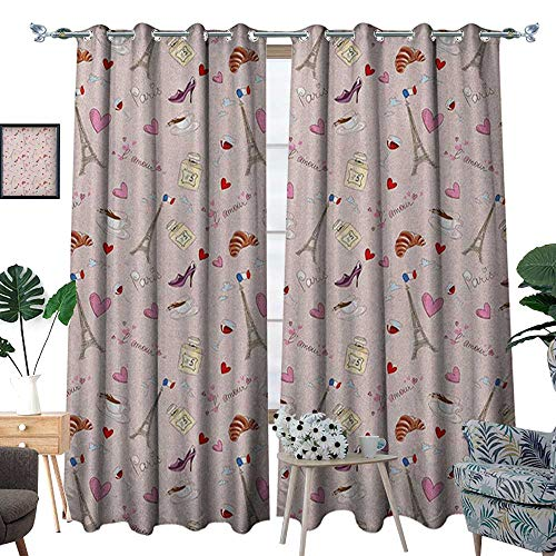 Warm Family Paris Window Curtain Drape French Flag Coffee Croissant Fashion Shoes Wine Hearts Perfume Popular Icons Clouds Design Decorative Curtains for Living Room W84 x L96 Rose