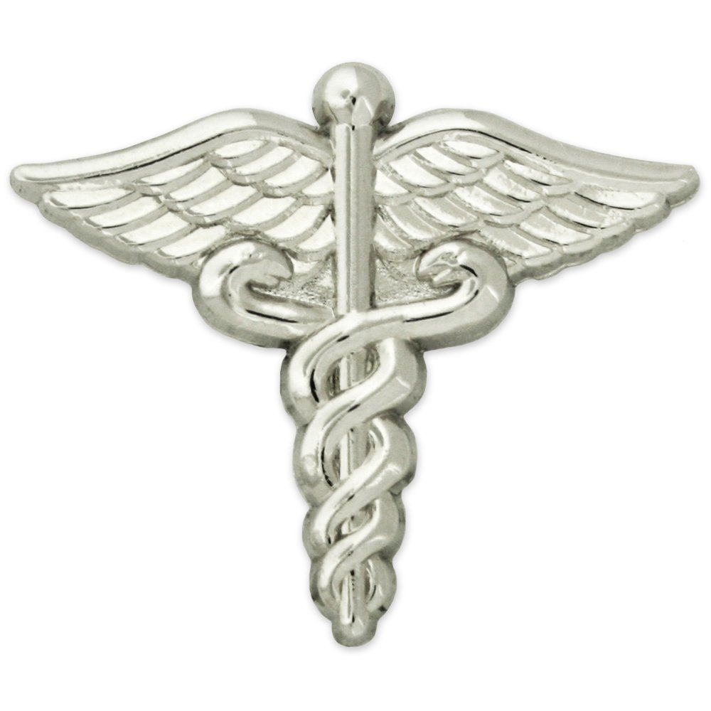 PinMart Silver Plated Medical Caduceus Lapel Pin