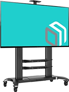 """ONKRON Mobile TV Stand Rolling TV Cart for 60"""" to 100-inch LCD LED Plasma Flat Panel Screens up to 300 lbs Black"""