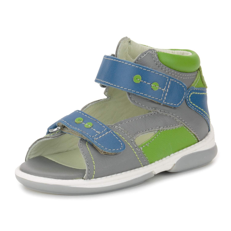 Memo Monaco Children's Corrective Orthopedic AFO Sandal, Gray/Green, 23 (7 M US Toddler)