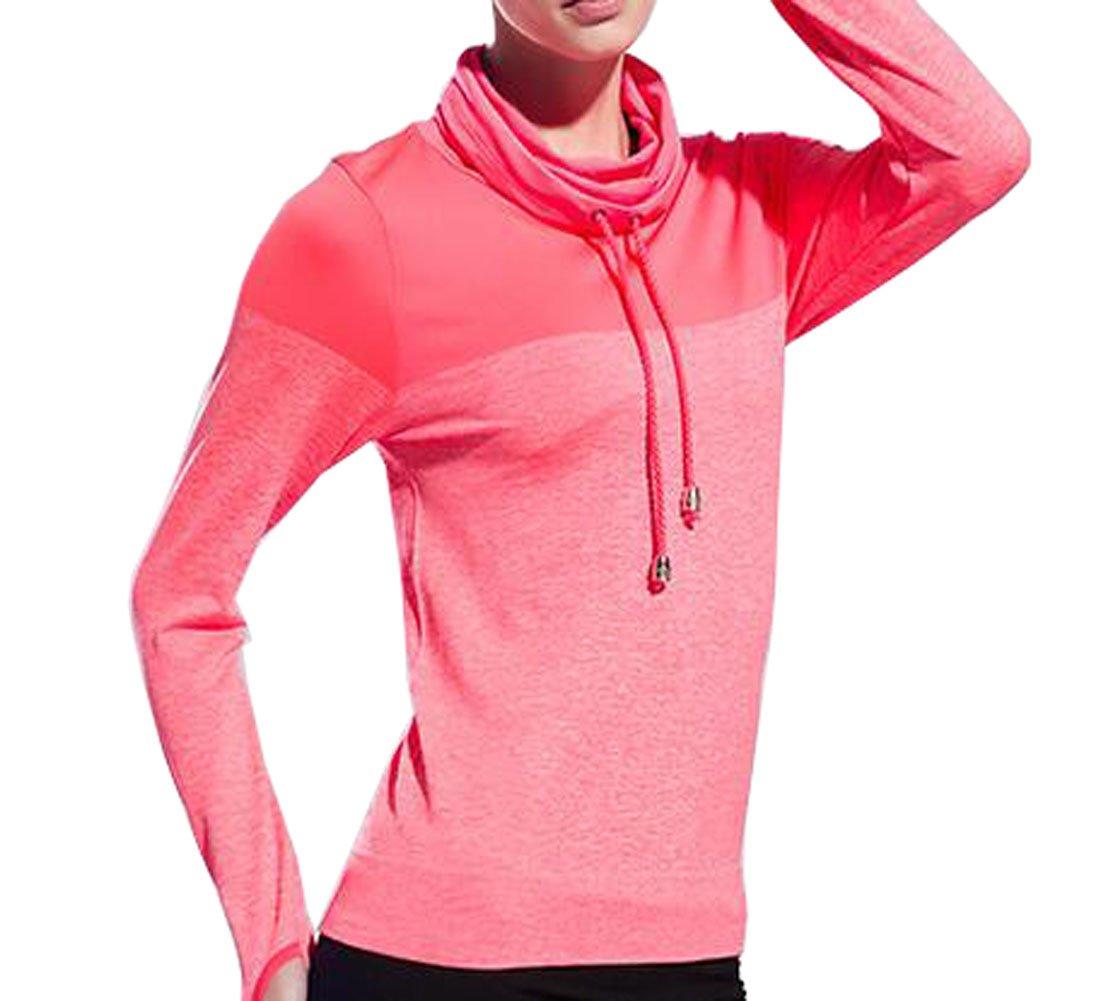 VOGUE CODE High Neck Quick Dry Running T-shirt High Elasticity Outwear Sweat Absorption T-shirt (S, pink) by VOGUE CODE