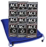 Ace Casino Deluxe 100% Plastic Playing Cards Bundle of 12 Decks (6 Red, 6 Blue Backing) Bonus Nylon Mesh Blue Drawstring Carry Bag_Bundled Items