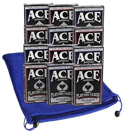 Ace Casino Deluxe 100% Plastic Playing Cards Bundle of 12 Decks (6 Red, 6 Blue Backing) Bonus Nylon Mesh Blue Drawstring Carry Bag_Bundled - Card Aces