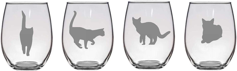 Juego de 4 copas de vino con diseño de gato, 4 posos de gato, copas de gato grabadas a medida, copas de cristal grabadas, utensilios para gatos, copas para amantes de los