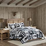 4 Piece Full/Queen, Elegant Classic Animal Print Plaid Pattern Quilt Set, Traditional Casual Style Cabin, Rustic Design, Motif Lodge Checkered Themed, Unique Bedding, Adorable Black, Grey Color Unisex