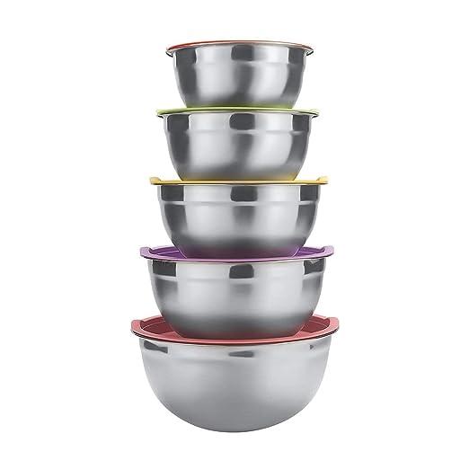 Cuenco de acero inoxidable cuencos mezcladores boles de acero inoxidable ensaladera con tapas, juego de 5 tazones de cocina apilables grandes-1.1, ...