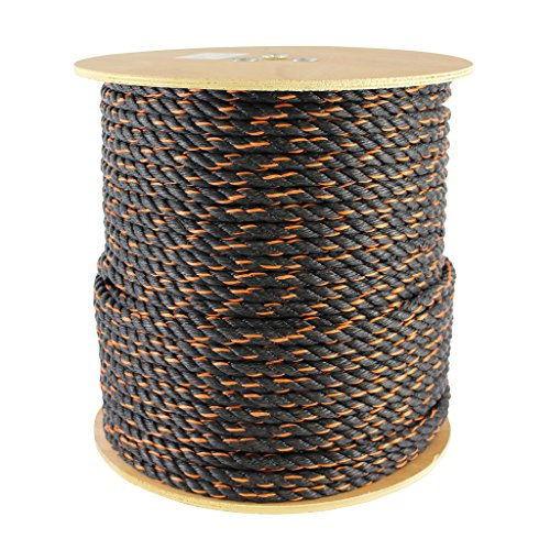 Polypro California Truck Rope (1/2 inch) - SGT KNOTS -Twisted Polypropylene Rope - Floating Rope - for Cargo Straps, Tie-Downs, Gear Bundles, Hauling, Boating, More (100 feet, Black and Orange)