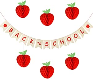 FEPITO Back To School Banner with Apple Sign and 6 Pack Honeycomb Tissue Paper Apple for First Day of School, Back to School Party Decoration