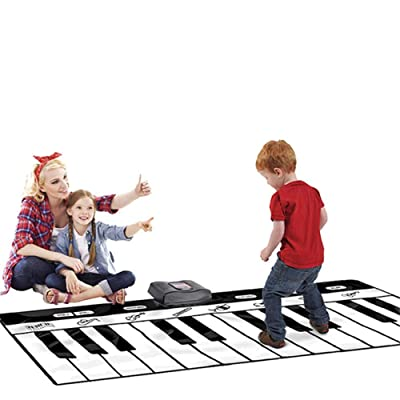 Estera para piano musical, 71 pulgadas 24 teclas Gigante enorme tamaño Teclado musical Tapete de juego con grabación Reproducción Demostración Ajustable Vol. Plegable Piso Teclado Piano Baile Activida: Hogar