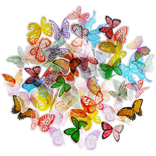 PP OPOUNT 100Pieces Scrapbooking Butterflies Transparent Wings, 25 Styles Assorted Color Butterflies for Scrapbooks, Multimedia Projects and Other Paper Crafting Projects