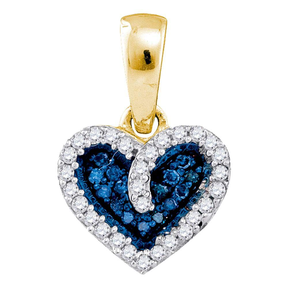 Blue Diamond Heart Love Anniversary Pendant 1//10ct 10k Yellow Gold
