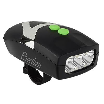 2 en 1 Super Bright 3 LED feux de vélo avec des Cloches électriques Intégrées Black Bicycle Horn Flash Bike Front Light Lampe d'avertissement de Sécurité avec Support (Lumière
