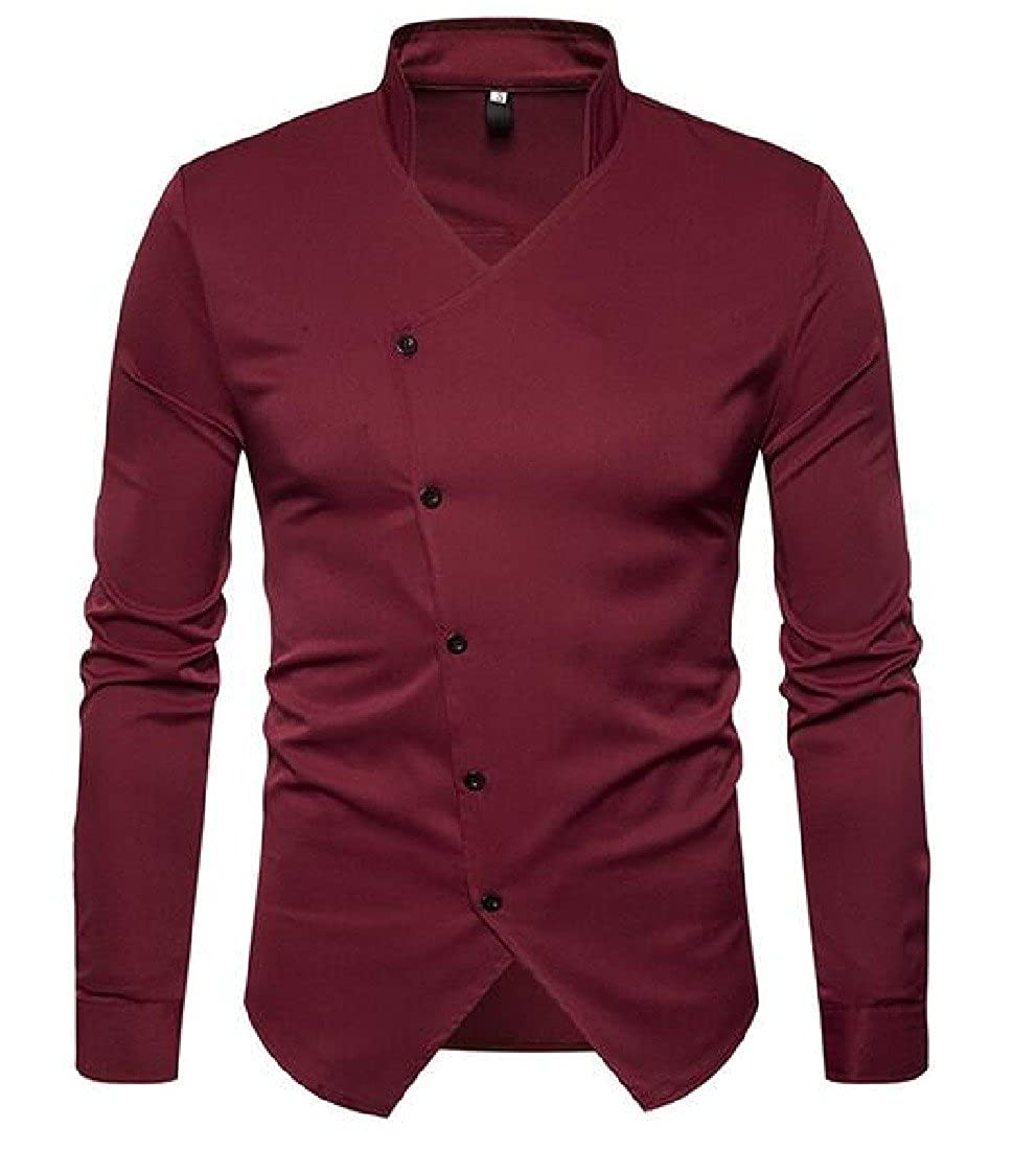 SexyBaby Men No?Iron Pure Color Tees Top Mandarin Collar Casual Shirt