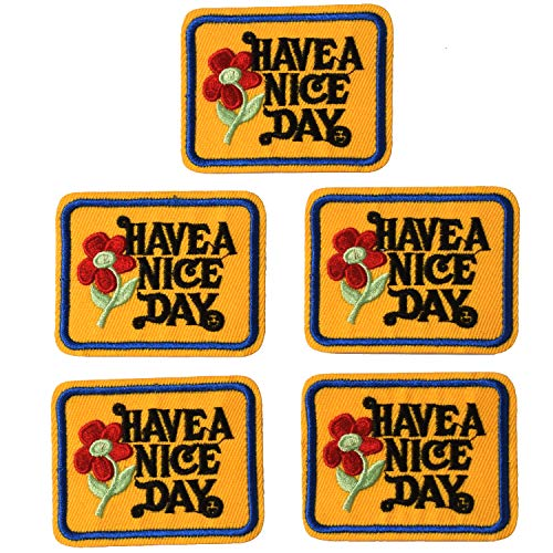 J.CARP Have a Nice Day Patches, Size 2.4 by 2.0 Inch, 5PCS
