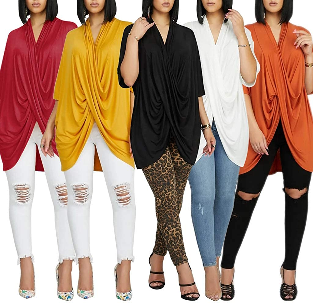 MorwenVeo Womens Short Sleeve V Neck Ruched Twist Tunic Tops Loose Blouse Shirts Orange