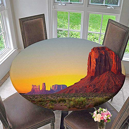 Round Polyester Tablecloth Table Cover Sunset in Famous Grand Canyon Archaic Natural Wonders of World Heritage Photo Red for Most Home Decor 50