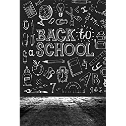 LFEEY 3x5ft Blackboard Back to School Photography Backdrop Kindergarten Nursery School Chalkboard Chalk Drawing Students Kids Photoshoot Portrait Background Photo Studio Props
