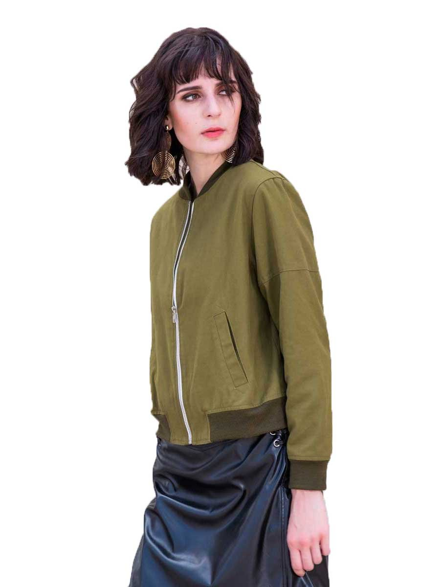Celmia Womens Ladies Fashion Long Sleeve Ribbed Cuffs Collar Solid Bomber Jacket Baseball Coat Outwear ArmyGreen 3XL