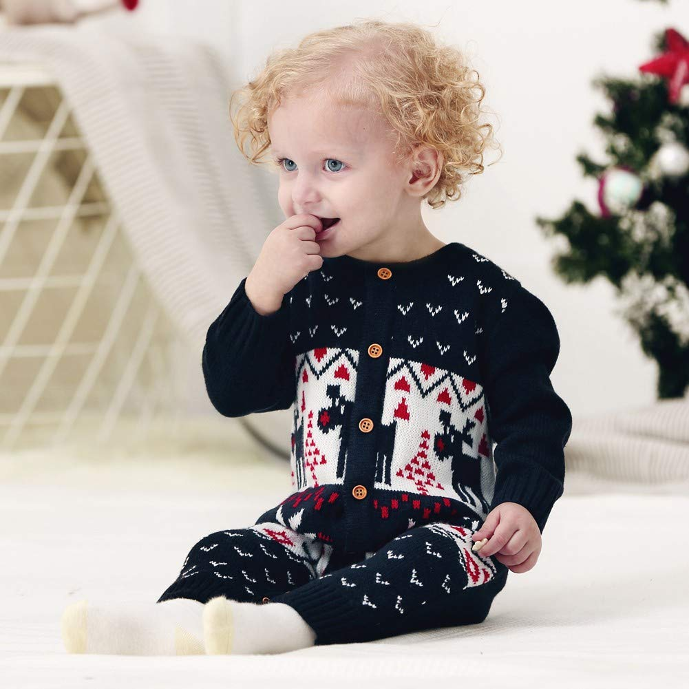 EFINNY Infant Autumn Winter Long Sleeves Christmas Pattern Print Girls Boys Knitted Sweater Jumpsuit Climb Soft Romper