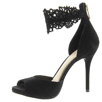 70b4c5b8e2 Amazon.com | Jessica Simpson Womens Bonney Peep Toe Ankle Wrap Suede ...