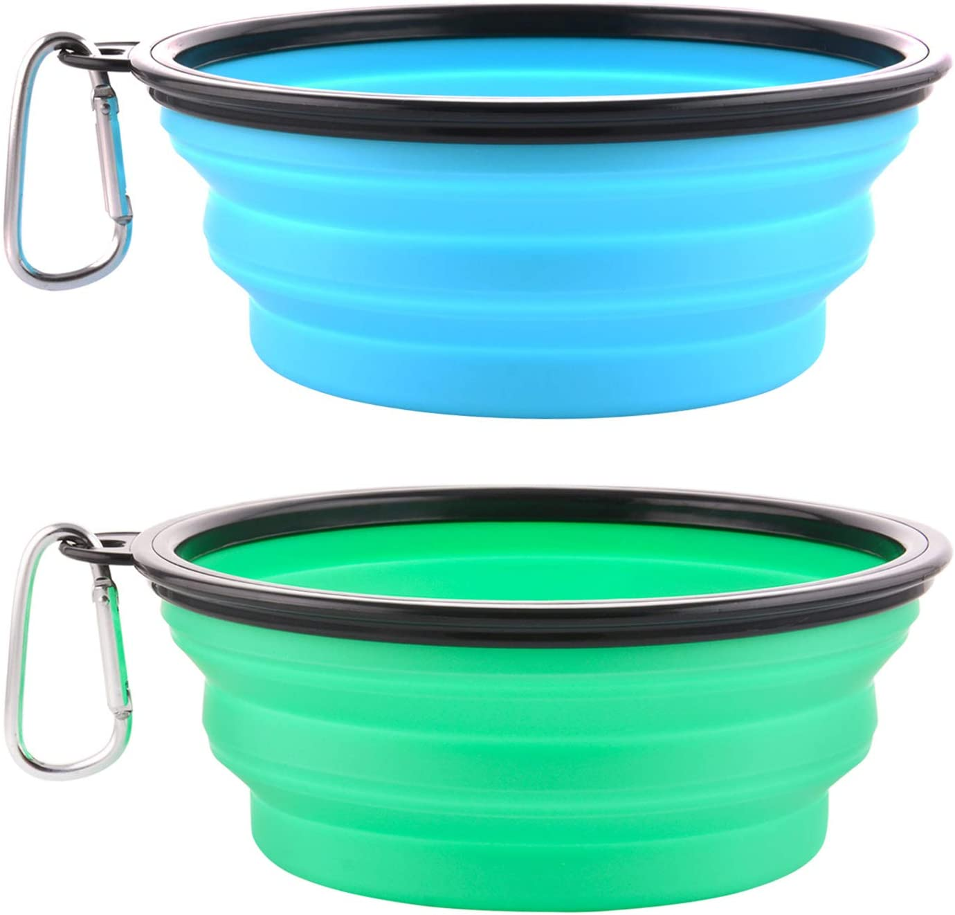 Guardians Large Collapsible Dog Bowls, 34oz Travel Water Food Bowls Portable Foldable Collapse Dishes with Carabiner Clip for Traveling, Hiking, Walking, 2 Pack (Light Blue + Light Green)
