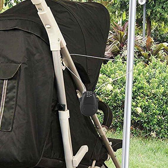 silla de paseo forma de vaquilla Negro cable extensible de 80 cm cerradura de seguridad personalizada para maleta Candado con candado de combinaci/ón Candado con c/ódigo num/érico de 3 d/ígitos