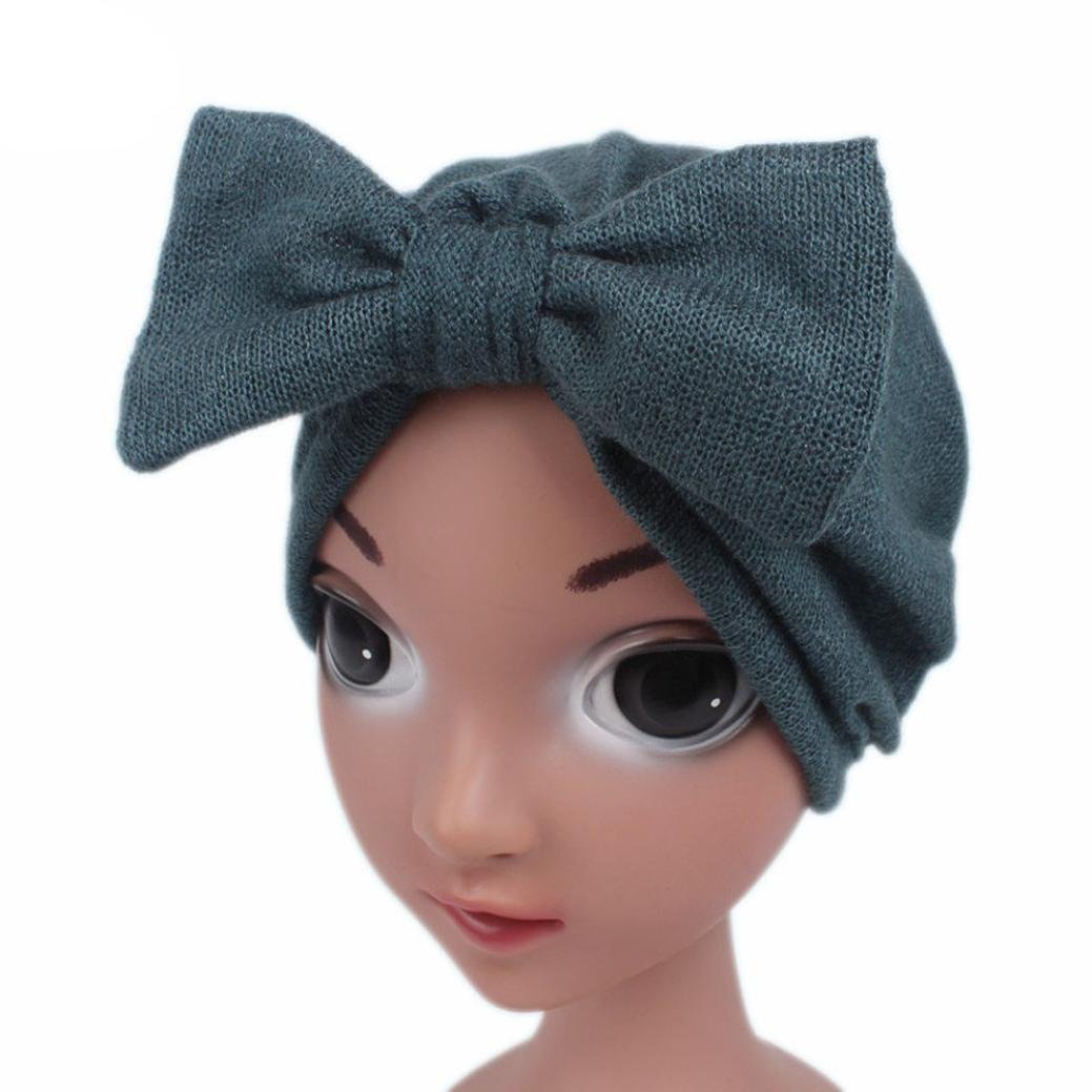 FEITONG Children Little Girls Knitting Hat Beanie Turban Head Wrap Cap Pile Cap (Blue)