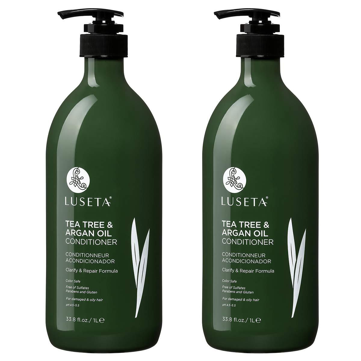 Luseta Tea Tree & Argan Oil Detangling Shampoo & Conditioner Set, 2 x 33.8 Oz by L LUSETA