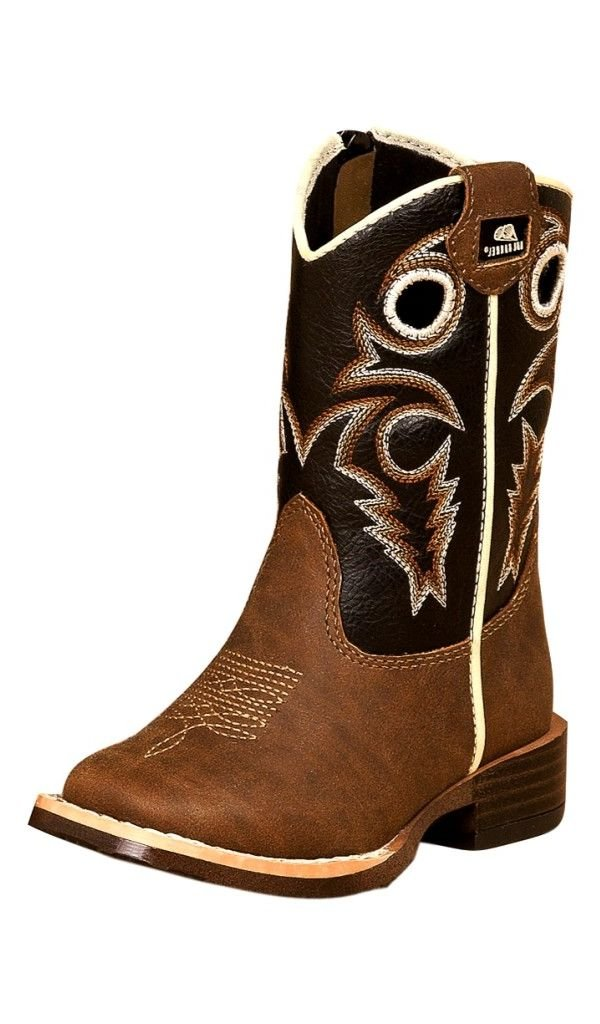 Double Barrel Toddler-Boys' Trace Zipper Cowboy Boot Square Toe Brown 5 US