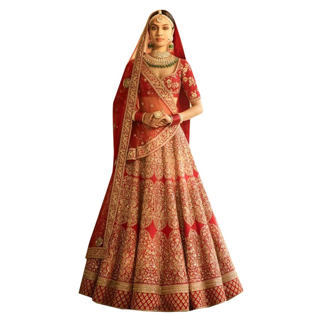 9cc161ef5073f0 Amazon.com: Red Bridal Designer Royal 2 Dupatta Wedding Festive Chennai  Silk Lehenga Choli Ghagra Dupatta Indian Muslim Zari Bespoke BP: Home  Improvement