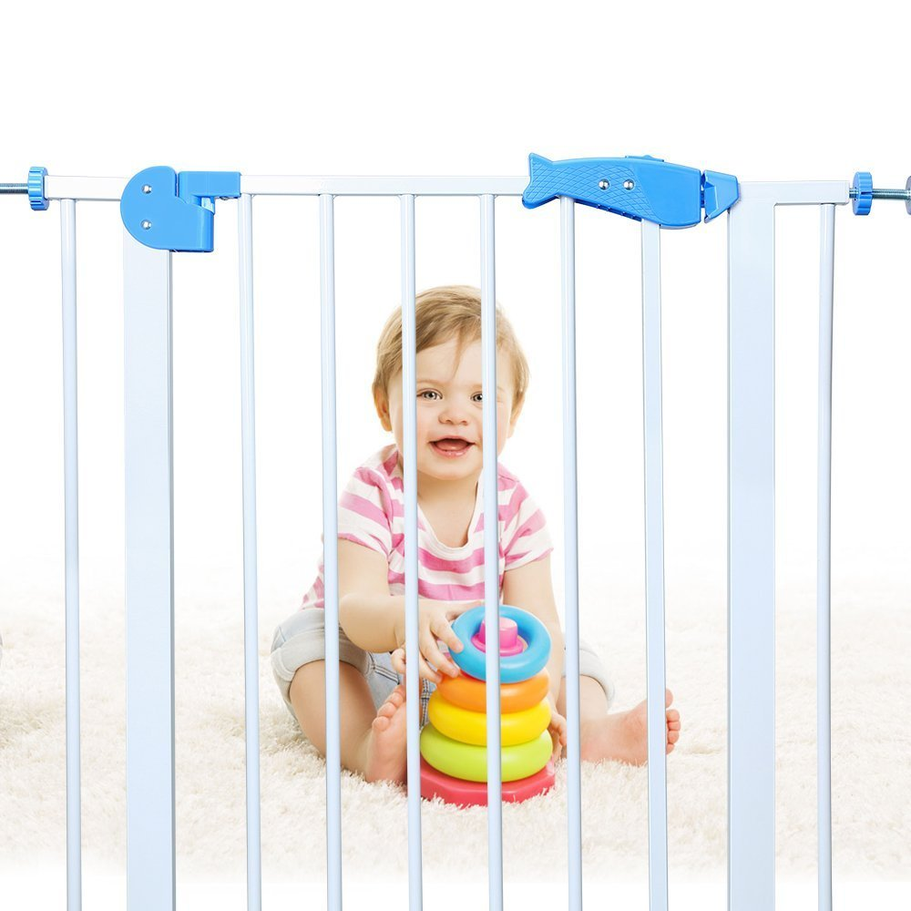 Baby Gates for Stairs, Extra Wide Pressure Mounted Safety Gates, Fits Spaces Between 29.9'' to 33.8'' Wide