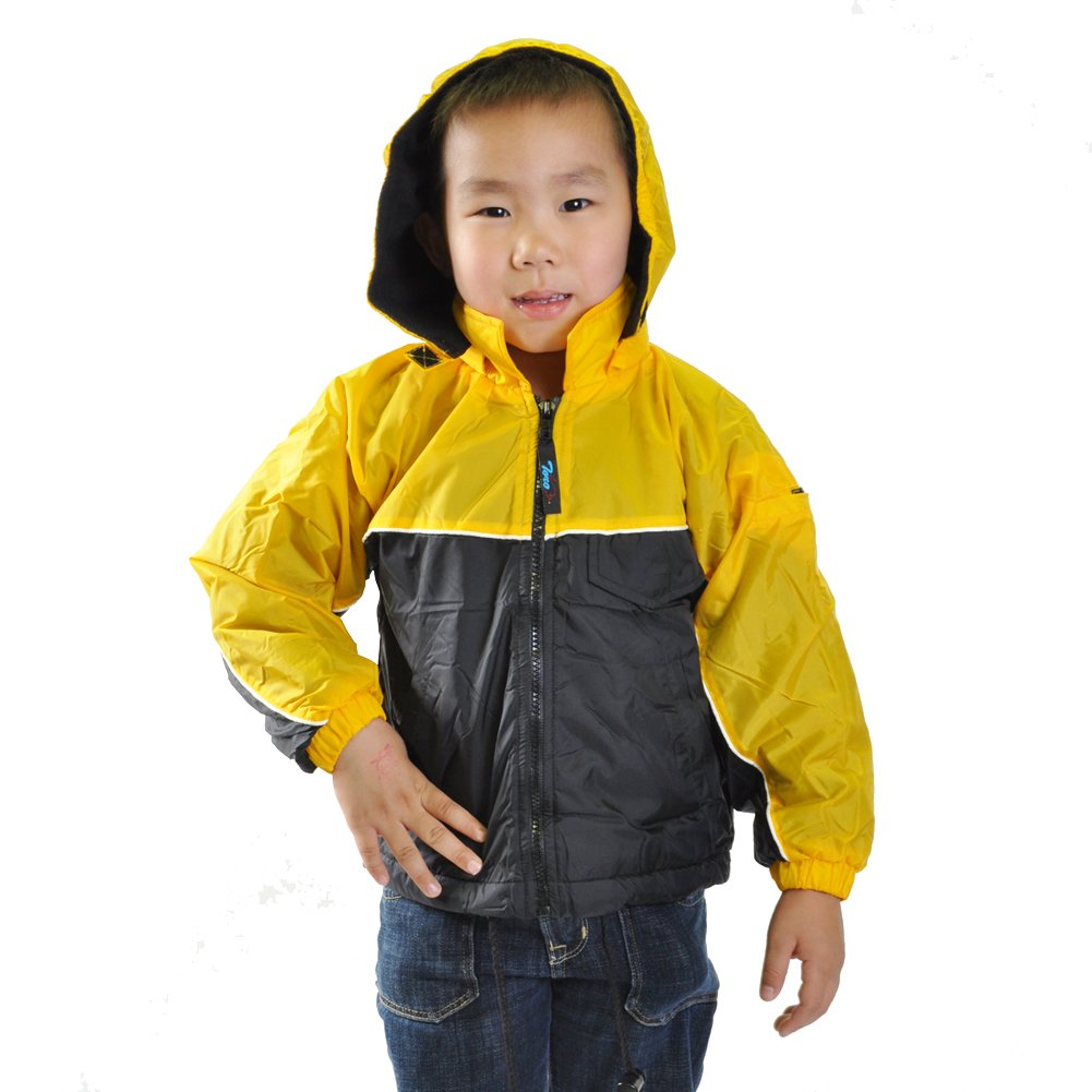 Kid's Fleece Lined, Waterproof Jacket with Removable Hood Kid' s Fleece Lined #40202_GRN2 J40202_GRN2