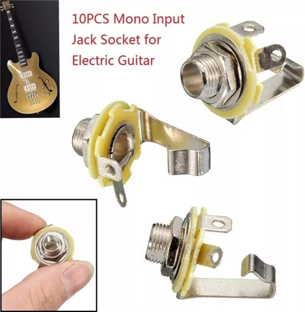 Fuerte y resistente 10 piezas de 6,35 mm de entrada Mono zócalo de gato de la guitarra eléctrica de sonido del panel